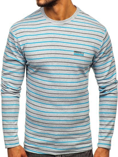 Šedé pánske prúžkované tričko s dlhými rukávmi Bolf 1519