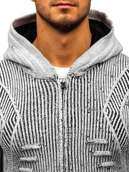 Šedo-čierny pánsky sveter BOLF 20009