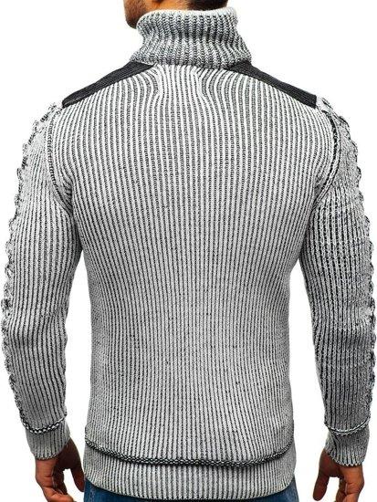 Šedo-čierny pánsky sveter BOLF 20013