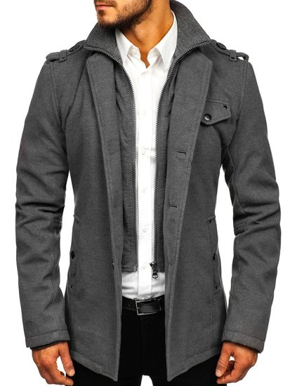 Šedý pánsky kabát Bolf 8853