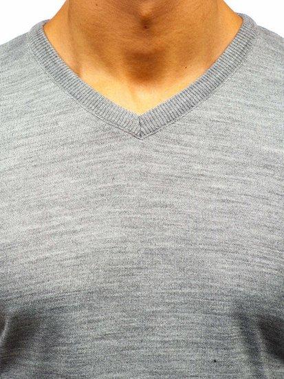 Šedý pánsky sveter s výstrihom do V BOLF 2200