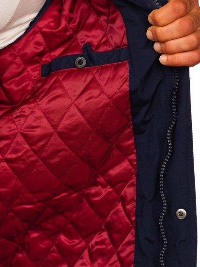 Tmavmodrá pánska elegantná prechodná bunda Bolf 1850