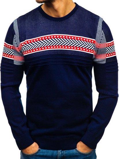 Tmavmodrý pánsky sveter BOLF 1016