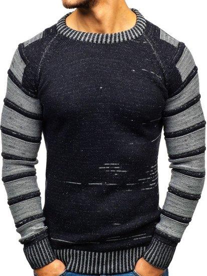 Tmavmodrý pánsky sveter BOLF 6007