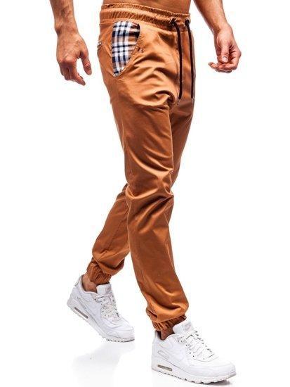 Tmavokamelové pánske jogger nohavice BOLF 0449