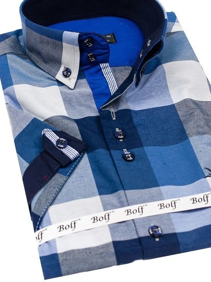 Tmavomdorá pánska károvaná košeľa s krátkymi rukávmi Bolf 5532