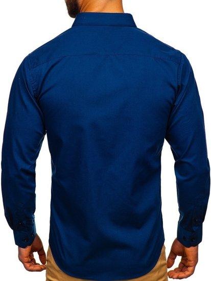 Tmavomodrá pánska elegantná košeľa s dlhými rukávmi Bolf 0001