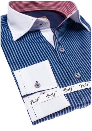 Tmavomodrá pánska elegantná prúžkovaná košeľa s dlhými rukávmi BOLF 4784-A