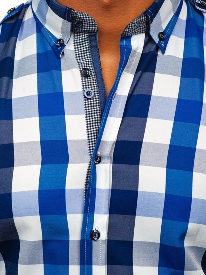 Tmavomodrá pánska károvaná košeľa s dlhými rukávmi Bolf 2779