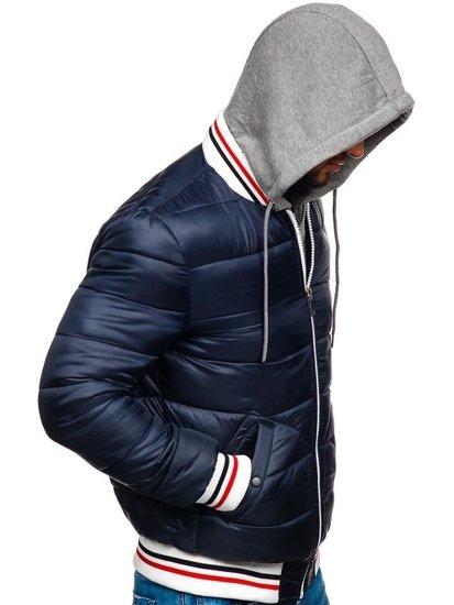 Tmavomodrá pánska prešívaná športová prechodná bunda Bolf JK395