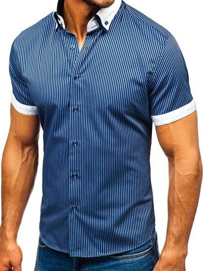 Tmavomodrá pánska pruhovaná košeľa s krátkymi rukávmi BOLF 1808