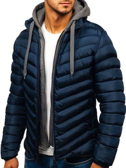 Tmavomodrá pánska športová prechodná bunda s kapucňou BOLF SM08