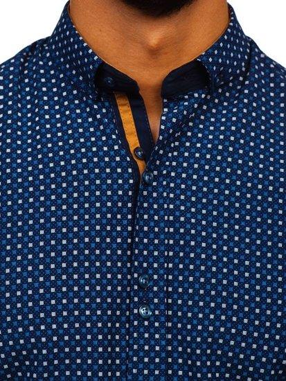 Tmavomodrá pánska vzorovaná košeľa s dlhými rukávmi Bolf 9708