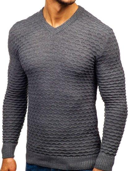 Tmavošedý pánsky sveter s výstrihom do V BOLF 6005