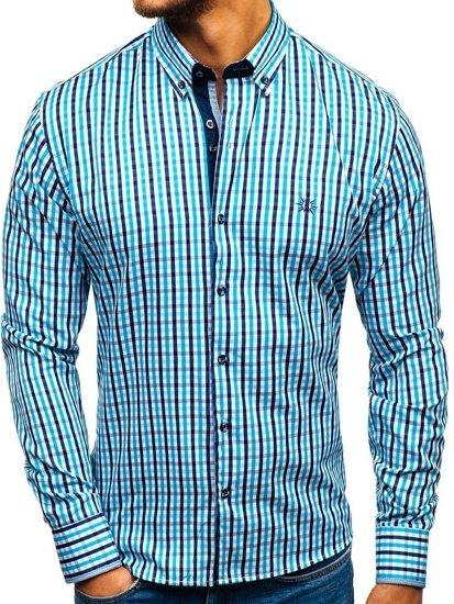 Tyrkysová pánska károvaná vichy košeľa s dlhými rukávmi BOLF 4712