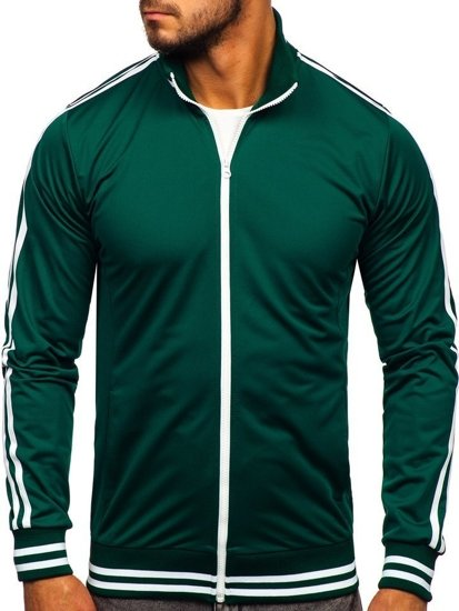 Zelená pánska mikina na zips bez kapucne retro style Bolf 11113