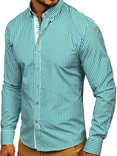 Zelená pánska prúžkovaná košeľa s dlhými rukávmi Bolf 9711
