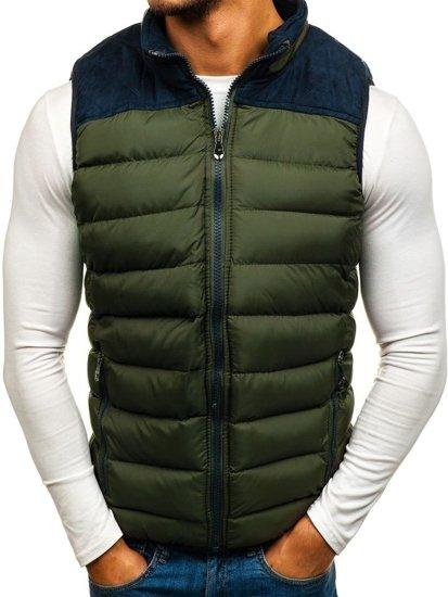 Zelená pánska vesta s kapucňou Bolf 5371-A