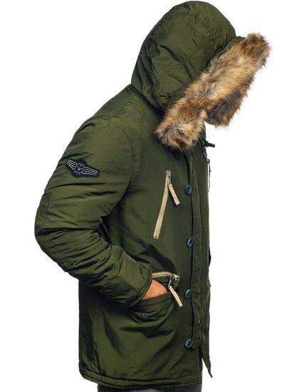 Zelená pánska zimná bunda parka Bolf  1045A
