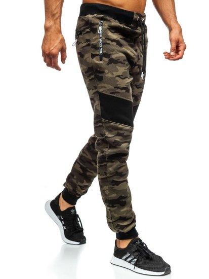 Zelené maskáčové pánske teplákové joggery Bolf TC873