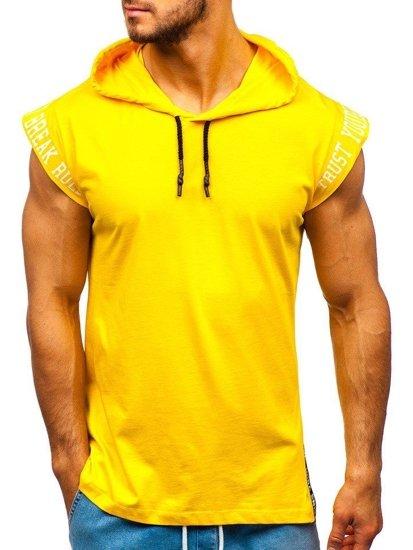 Žlté pánske tričko s potlačou a kapucňou Bolf 19100