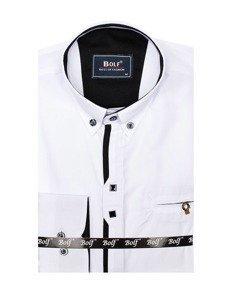 Biela pánska elegantá košeľa s dlhými rukávmi BOLF 7720