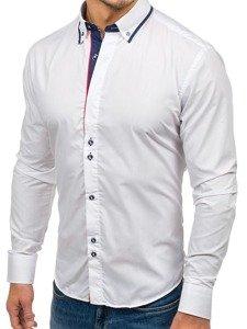 Biela pánska elegantná košeľa s dlhými rukávmi BOLF 6857