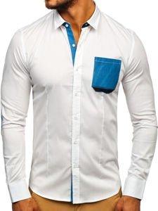 Biela pánska elegantná košeľa s dlhými rukávmi BOLF 7192