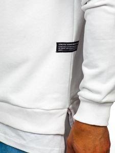 Biela pánska mikina bez kapucne s potlačou BOLF 11114