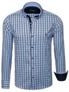 Blankytná pánska károvaná vichy košeľa s dlhými rukávmi BOLF 4712