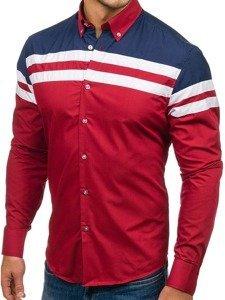 Bordová pánska elegantná košeľa s dlhými rukávmi BOLF 6885