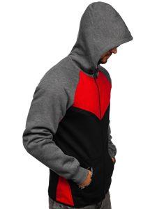 Červená pánska mikina na zips s kapucňou Bolf 80688