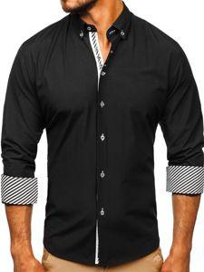 Čierna pánska elegantná košeľa s dlhými rukávmi BOLF 5796