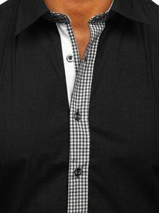 Čierna pánska elegantná košeľa s dlhými rukávmi BOLF 6873