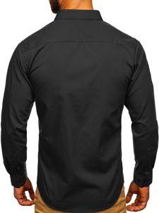 Čierna pánska elegantná košeľa s dlhými rukávmi Bolf 0001