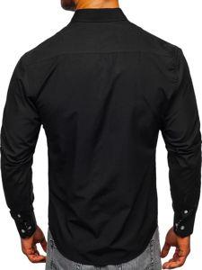 Čierna pánska elegantná košeľa s dlhými rukávmi Bolf Bolf 4711