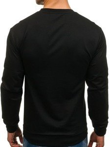 Čierna pánska mikina bez kapucne s potlačou BOLF 0385