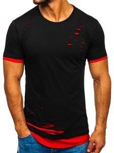 Čierno-červené pánske tričko bez potlače Bolf 10999