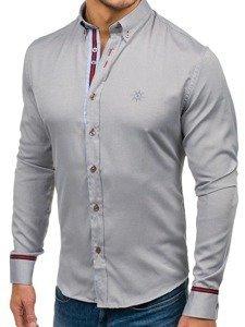 889bfd4f2b Šedá pánska elegantná košeľa s dlhými rukávmi BOLF 5801