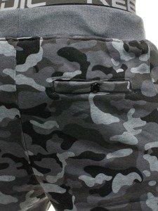 Šedé maskáčové pánske tepláky Bolf QN274
