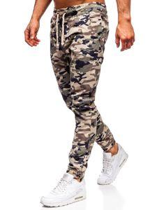 Tmavobéžové maskáčové pánske joggery Bolf 0367