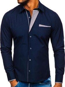 Tmavomodrá pánska elegantná košeľa s dlhými rukávmi BOLF 4713