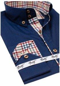 Tmavomodrá pánska elegantná košeľa s dlhými rukávmi BOLF 5747-1