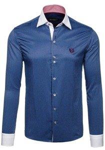 Tmavomodrá pánska elegantná pruhovaná košeľa s dlhými rukávmi BOLF 4784
