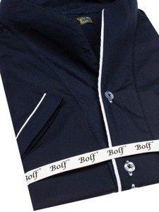 Tmavomodrá pánska košeľa s krátkymi rukávmi BOLF 5518