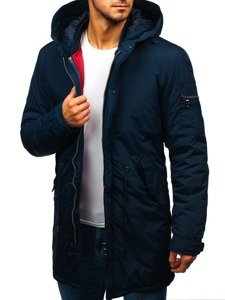 Tmavomodrá pánska zimná bunda parka 2v1 Bolf 5285