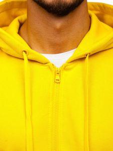Žltá pánska mikina na zips s kapucňou Bolf 2008